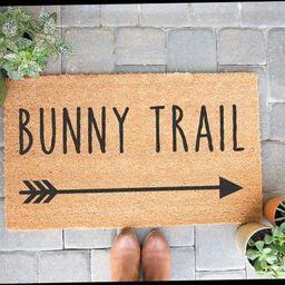 Bunny Trail Door Mat, Personalized Doormat, Cute Doormat, Housewarming Gift, Easter Doormat, Outd... | Etsy (US)