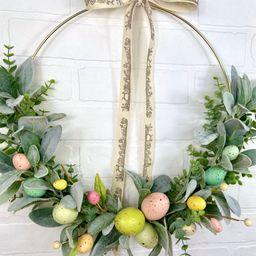 Easter Wreath,Easter Egg Hoop Wreath,Simple Lambs Ear Easter Bunny Decor,Farmhouse Easter Eucalyp... | Etsy (US)
