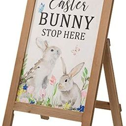 Glitzhome Easter Porch Sign Frame Freestanding Bunny Welcome Wall Hanging Decor, Multiful Color | Amazon (US)