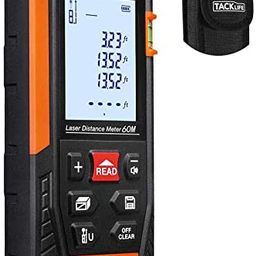 Tacklife HD60 Classic Laser Measure 196Ft M/In/Ft Mute Laser Distance Meter with 2 Bubble Levels,...   Amazon (US)