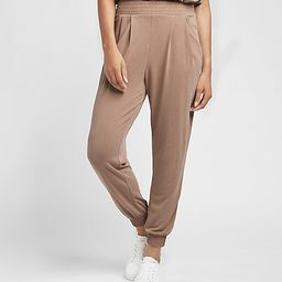 Super High Waisted Silky Sueded Jersey Joggers   Express