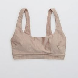 Aerie Ribbed Shine Banded Wide Strap Scoop Bikini Top | American Eagle Outfitters (US & CA)