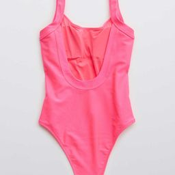 Aerie Ribbed Shine Scoop One Piece Swimsuit | American Eagle Outfitters (US & CA)