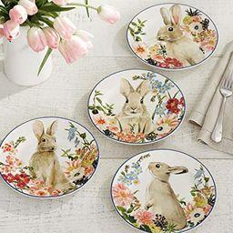Rustico Floral Easter Bunnies Heavyweight Melamine Salad Plates, Set of 4 | Amazon (US)