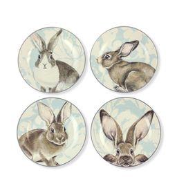 Damask Bunny Salad Plates Mixed, Set of 4 | Williams-Sonoma