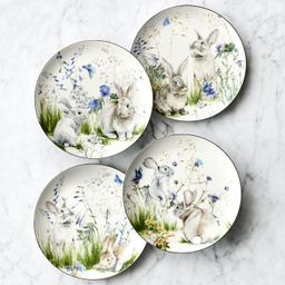 Floral Meadow Mixed Salad Plates, Set of 4, Bunny | Williams-Sonoma