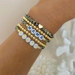 NEW Leopard Print Bracelet | Personalized Custom Beaded Name Bracelets | Custom Word Beaded Brace... | Etsy (US)
