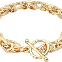 18k Gold Plated Personalized Chunky Cuban Oval Link Chain Bracelets for Men Women Toggle Rope Bra...   Amazon (US)