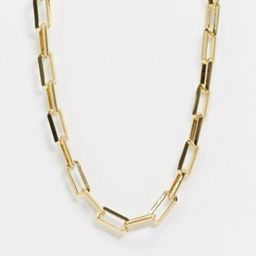 ASOS DESIGN 14k gold plated necklace in square link chain   ASOS (Global)