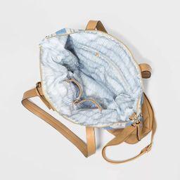 VR NYC Striped Zip Closure Tote Handbag - Blue   Target