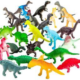 ValeforToy 82 Piece Mini Dinosaur Toy Set for Dino Party Cupcake Toppers - Assorted Vinyl Plastic... | Amazon (US)