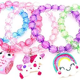 5pc Mermaid Bracelet, Unicorn Bracelet, Little Girl Animal Bracelets, Teens Kids Owl Pendant Bead... | Amazon (US)