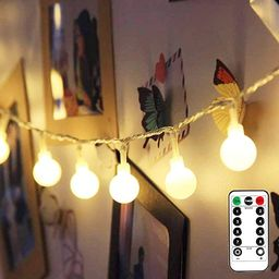 LE Battery Powered LED Globe String Lights Ball Fairy Lights with Remote, 16.4ft 50 LED 8-Mode Tw... | Amazon (US)