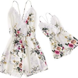 Mommy and Me Matching Jumpsuit Outfits Floral Printed V Neck Romper Beachwear | Amazon (US)