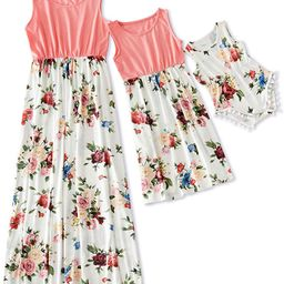 Mommy and Me Dress Matching Outfits Floral Printed Sleeveless Tank Maxi Dress for Mother and Daug... | Amazon (US)