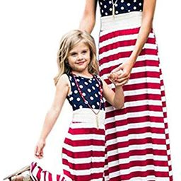 American Flag Mother and Me Matching Clothes,Floral Printed Family Beach Maxi Dress with Pockets | Amazon (US)