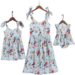 Mommy and Me Floral Printed Dresses Shoulder Straps Bowknot Chiffon Sleeveless Matching Outfits | Amazon (US)