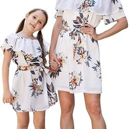Mommy and Me Dresses Floral Printed Chiffon Bowknot Ruffles Short Sleeve Beach Mom Daughter Match... | Amazon (US)