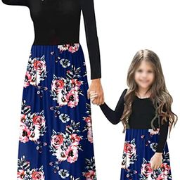 Mommy and Me Maxi Dresses Casual Floral Printed Plaid Long Sleeve with Pockets | Amazon (US)