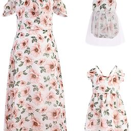Mommy and Me Dresses Floral Print Cold Shoulder Ruffle Backless Strap Romper Beach Midi Dress Sum... | Amazon (US)