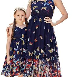 Mommy and Me Dresses Vintage Butterfly Floral Printed Spaghetti Straps V-Neck Beach Cami Dress | Amazon (US)