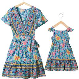 Mommy and Me Dresses Bohemian Maxi Dress Floral Ruffles Short Dress Matching Outfits | Amazon (US)