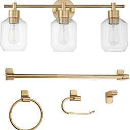 Globe Electric Cannes 5-Piece All-in-One Bathroom Set, Brass, 3-Light Vanity Light with Clear Gla... | Amazon (US)