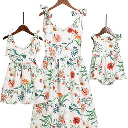 Mommy and Me Dresses Sweet Floral Print Bowknot Halter Shoulder-Straps Chiffon Dress | Amazon (US)