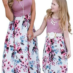 Mommy and Me Matching Maxi Dresses,Sleeveless Top Bohemia Floral Printed Matching Outfits with Po... | Amazon (US)