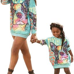 Mommy and Me Long Sleeve Unicorn Printed Family Matching Hoodies Pullover Sweatshirt Dresses with... | Amazon (US)