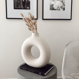 Circular hollow ceramic vase, Circle earthstone vase, Minimal ceramic vase, Modern ceramic vase, ... | Etsy (US)