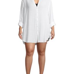 Time and Tru Women's and Women's Plus Size Button Front Shirt Cover Up | Walmart (US)