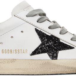 SSENSE Exclusive White & Black Glitter Superstar Sneakers | SSENSE