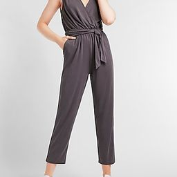 Silky Sueded Jersey Belted Wrap Lounge Jumpsuit | Express