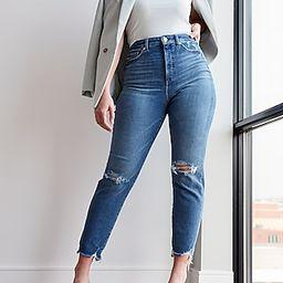 Super High Waisted Ripped Raw Hem Curvy Slim Jeans | Express