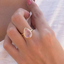 Rose Quartz Tear Drop Ring ~ Gemstone ~ Natural ~ 18k Gold Plated ~ Jewelry ~ Handmade~ January B... | Etsy (AU)