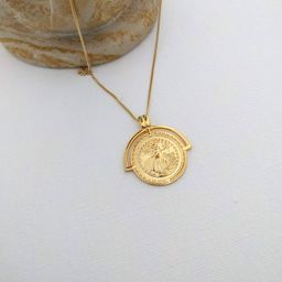 Silver coin necklace, minimal NECKLACE, Bohemian Gold Necklace, Liberty statue   Etsy (AU)