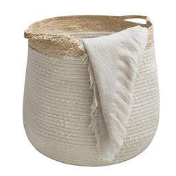 Rope Basket Woven Storage Basket - Laundry Basket Large 17.3x 15 x 14.1 Inches Cotton Blanket Org... | Amazon (US)