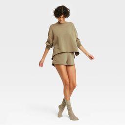 Women's French Terry Crewneck Lounge Sweatshirt - Colsie Green L | Target