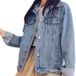 Saukiee Oversized Denim Jacket Distressed Boyfriend Jean Coat Jeans Trucker Jacket for Women Girl...   Amazon (US)