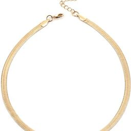 NUZON 14K Gold Plated Snake Chain Choker Thick 5MM Flat Herringbone Link Necklace Dainty Jewelry ... | Amazon (US)