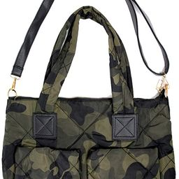 Me Plus Women Fashion Green Camouflage Quilted Puffer Shoulder Bag Crossbody Tote Bag | Amazon (US)