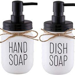 Elwiya Mason Jar Hand Soap Dispenser and Dish Soap Dispenser Set - 16 Ounce Glass Mason Jar with ...   Amazon (US)