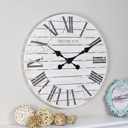 FirsTime & Co. Shiplap Farmhouse Wall Clock, American Crafted, White, 18 x 2 x 18,   Amazon (US)