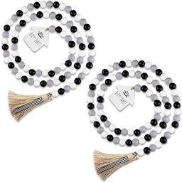 Jetec 2 Pieces Wood Bead Garlands with Black White Buffalo Plaid Tassels Rustic Farmhouse Hanging...   Amazon (US)