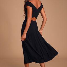 A La Mode Black Midi Dress   Lulus (US)