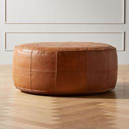 Round Saddle Leather Pouf-Ottoman + Reviews | CB2 | CB2