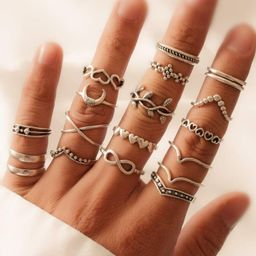 18pcs Heart Decor Ring | SHEIN