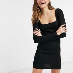 Pull&Bear ribbed square neck mini dress in black   ASOS (Global)