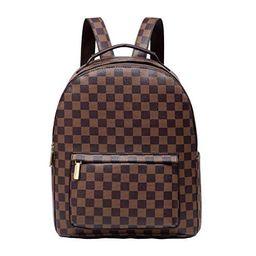 Daisy Rose Checkered Backpack bag - Luxury PU Vegan Leather (Brown) | Walmart (US)